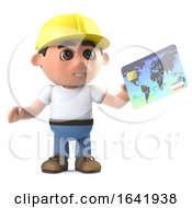 Poster, Art Print Of 3d Construction Worker Pays With A Debit Card