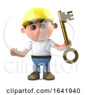 Poster, Art Print Of 3d Construction Worker Hands You The Key