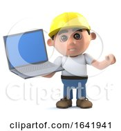 3d Construction Worker Holding A Laptop Pc Device