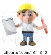 Poster, Art Print Of 3d Construction Worker Takes Notes