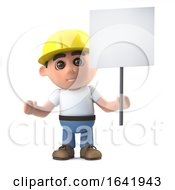 3d Construction Worker With Placard