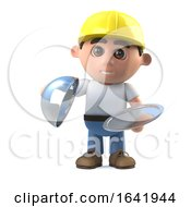 Poster, Art Print Of 3d Construction Worker Offers A Silver Service