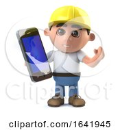 Poster, Art Print Of 3d Construction Worker Has A Smartphone Tablet Device