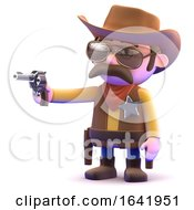 3d Cowboy Points His Gun
