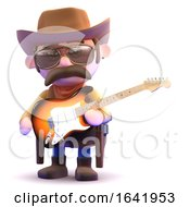 3d Cowboy Plays Electric Guitar