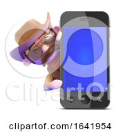 3d Cowboy Behind A Smart Phone