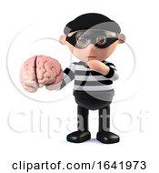 3d Burglar Holdinig A Human Brain