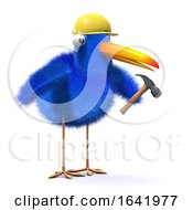 Poster, Art Print Of 3d Blue Bird Works In Construction
