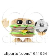 Poster, Art Print Of 3d Beefburger Plays Football