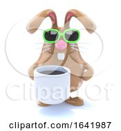 Poster, Art Print Of 3d Rabbit Drinks Coffee