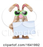 Poster, Art Print Of 3d Chocolate Easter Bunny Holds A Sign