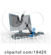 Pissed Blue Person Breaking A Flat Screen Computer Monitor With A Hammer Clipart Illustration Graphic by 3poD