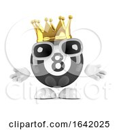 3d Eight Ball Wears A Gold Crown