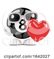 Poster, Art Print Of 3d 8 Ball Hugs A Red Heart