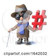 Cartoon 3d Blind Man Character Holding A Hashtag Symbol