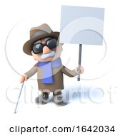 3d Blind Man Holding A Placard