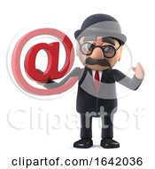 3d Bowler Hatted British Businessman Has An Email Address