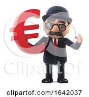 3d Bowler Hatted British Businessman Has Euro Currency