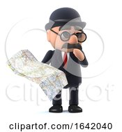 3d Bowler Hatted British Businessman Looks At The Map by Steve Young