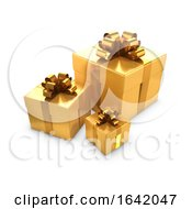 Poster, Art Print Of 3d Three Gold Gifts