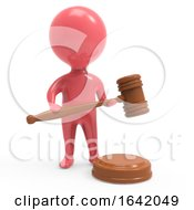 Poster, Art Print Of 3d Red Man With Auction Gavel