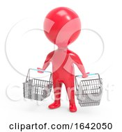 3d Red Man Carrying Shopping Baskets