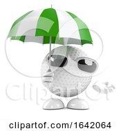 3d Golf Ball Under Umbrella