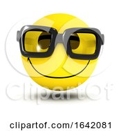 Poster, Art Print Of 3d Funny Smiley Character Wearing Nerdy Geek Glasses