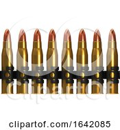 3d Row Of Machine Gun Bullets