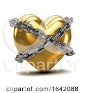 Poster, Art Print Of 3d Chained Gold Heart