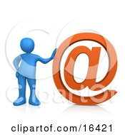 Blue Person Leaning Against A Giant Orange At Symbol Clipart Illustration Graphic
