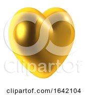 Poster, Art Print Of 3d Golden Heart
