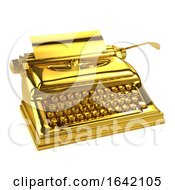 3d Gold Typewriter