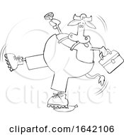 Cartoon Black And White Cow Worker Slipping On A Banana Peel