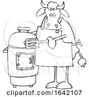 Cartoon Black And White Cow By A Smoker