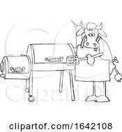 Cartoon Black And White Cow Using A Smoker