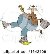Cartoon Cow Worker Slipping On A Banana Peel