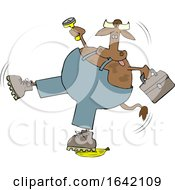 Cartoon Cow Worker Slipping On A Banana Peel