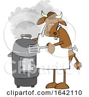 Cartoon Cow By A Smoker