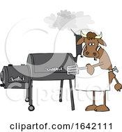 Cartoon Cow Using A Smoker