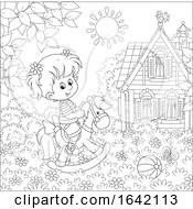 Poster, Art Print Of Black And White Girl Playing On A Rocking Horse In A Yard