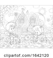 Poster, Art Print Of Black And White Children Playing In A Yard
