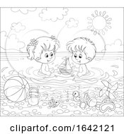 Poster, Art Print Of Black And White Children Swimming And Playing At A Beach