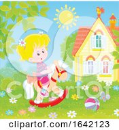 Poster, Art Print Of Little Girl Playing On A Rocking Horse In A Yard