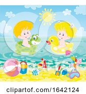 Poster, Art Print Of Children Swimming With Inflatables At The Beach