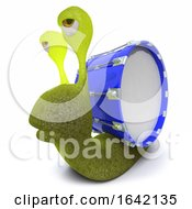 3d Snail Character Wearing A Bass Drum Instead Of A Shell