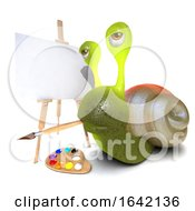 3d Snail Character Painting A Picture