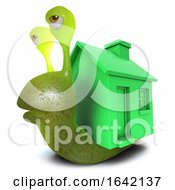 3d Snail Character Wearing A Greenhouse Instead Of A Shell