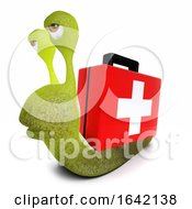 3d Snail Character Carrying A First Aid Kit Instead Of A Snail Shell