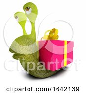 3d Snail Character With A Gift Present Instead Of A Shell
